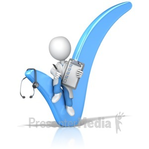 ID# 14335 - Doctor or Nurse Sitting In Check Mark - Presentation Clipart