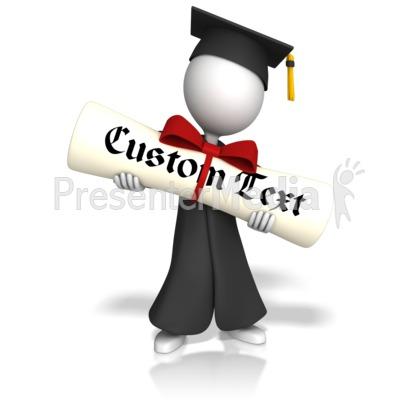 Graduate With Custom Diploma PowerPoint Clip Art