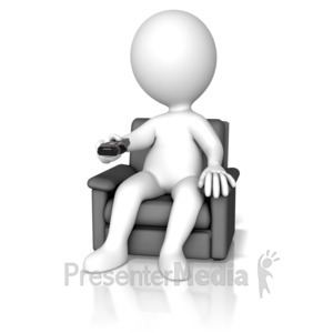 ID# 14360 - Figure Changing Channel With Remote - Presentation Clipart