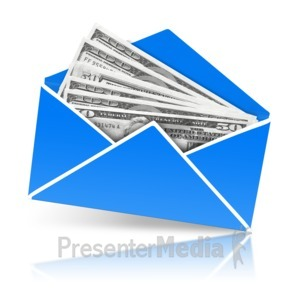 ID# 14362 - Envelope Open With Money - Presentation Clipart