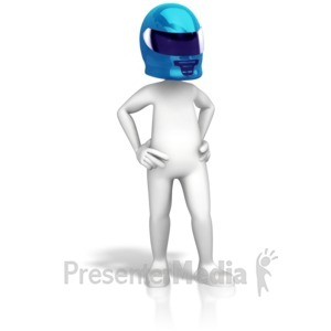 ID# 14399 - Figure With Motorcycle Helmet - Presentation Clipart