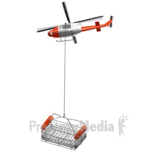 ID# 14416 - Rescue Helicopter With Lowered Basket - Presentation Clipart