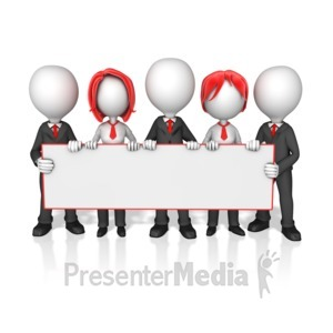 ID# 14422 - Business Worker Group Holding Long Sign - Presentation Clipart