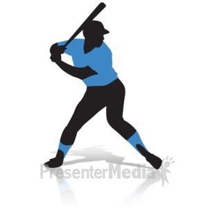 ID# 14460 - Baseball Player Silhouette - Presentation Clipart