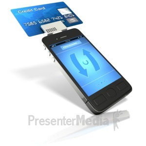 ID# 14480 - Smart Phone Credit Card Reader - Presentation Clipart