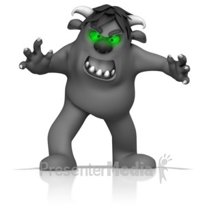 ID# 14504 - Green Eyed Monster - Presentation Clipart