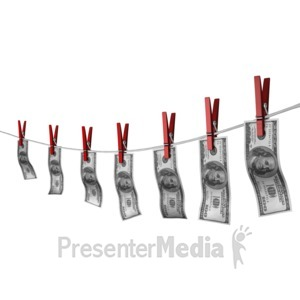 ID# 14509 - Money Hang On Clothesline - Presentation Clipart