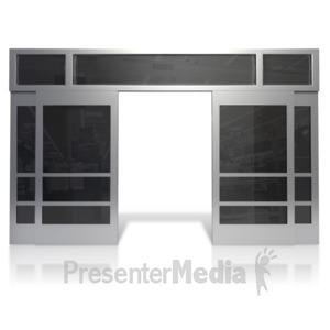 ID# 14517 - Open Store Front Doors - Presentation Clipart