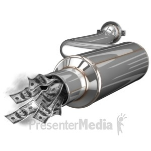 ID# 14563 - Exhaust Waste Money - Presentation Clipart