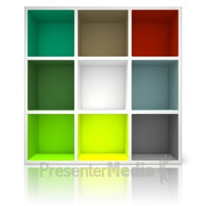 ID# 14565 - Colored Container Shelving Unit - Presentation Clipart