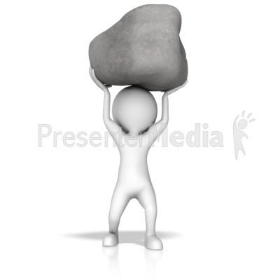 Stick Figure Lift Rock PowerPoint Clip Art