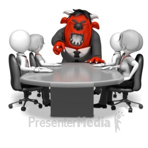 ID# 14572 - Monster Boss at Conference Table - Presentation Clipart