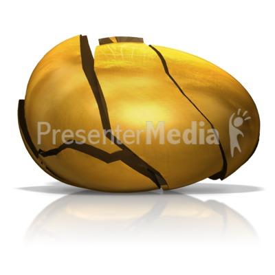 Broken Golden Egg PowerPoint Clip Art
