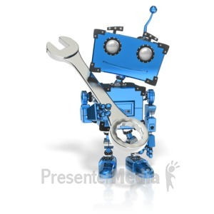 ID# 14592 - Boxy Robot Hold Wrench - Presentation Clipart