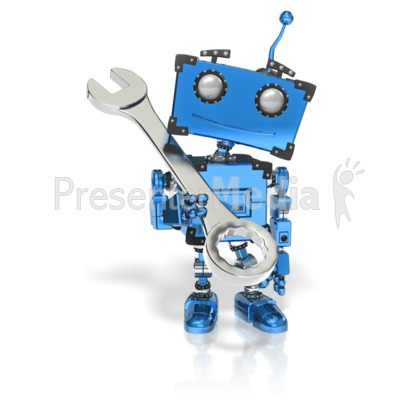 Boxy Robot Hold Wrench PowerPoint Clip Art