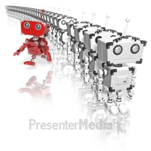 ID# 14596 - Robot Running From Line - Presentation Clipart
