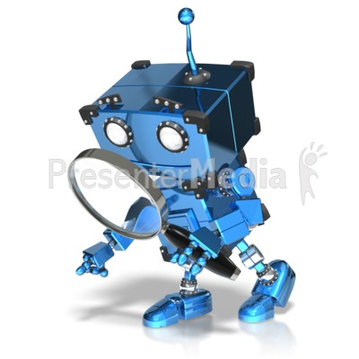 Boxy Robot Searching PowerPoint Clip Art