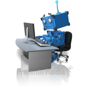 ID# 14615 - Robot Working At Desk - Presentation Clipart