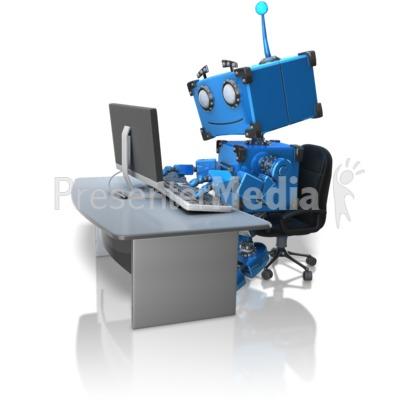 Robot Working At Desk PowerPoint Clip Art