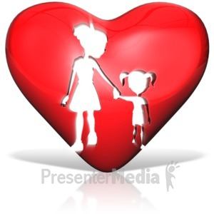 ID# 14617 - Mother Daughter Heart Silhouette - Presentation Clipart