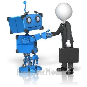 ID# 14626 - Robot Business Handshake - Presentation Clipart