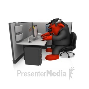 ID# 14638 - Monster Working In Cubical - Presentation Clipart