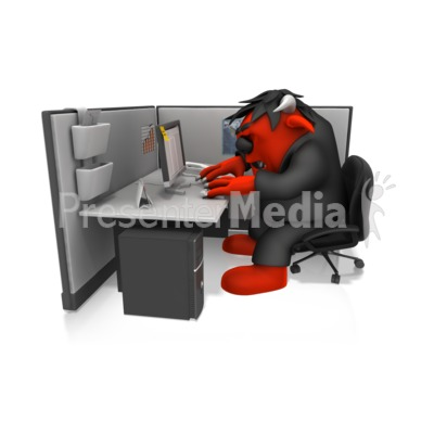 Monster Working In Cubical PowerPoint Clip Art