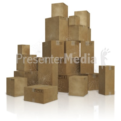 Pile of Old Slow Moving Inventory Boxes PowerPoint Clip Art