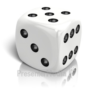 ID# 14668 - Dice Rolled A Five - Presentation Clipart