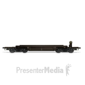 ID# 14707 - Flat Bed Rail Car - Presentation Clipart