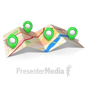 ID# 14735 - Folded Map Locations - Presentation Clipart