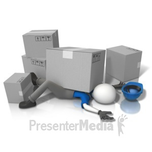 ID# 14740 - Construction Accident Squished (Grey Box - Presentation Clipart