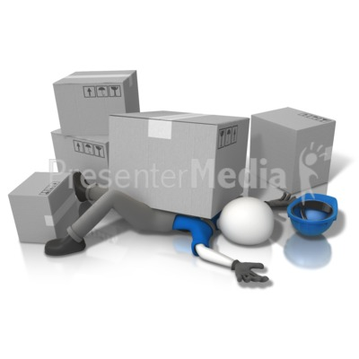Construction Accident Squished (Grey Box PowerPoint Clip Art