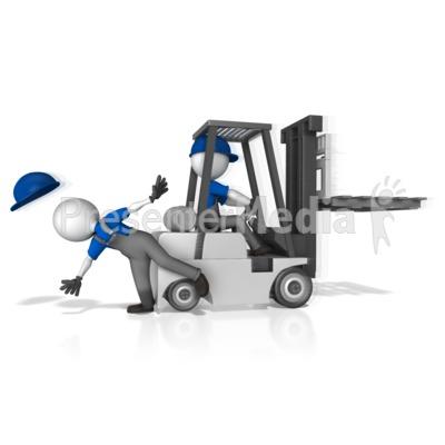 Forklift Hit Worker PowerPoint Clip Art