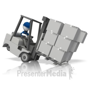 ID# 14744 - Stickman Front Heavy Forklift - Presentation Clipart