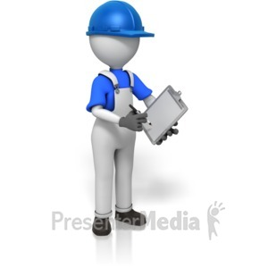 ID# 14754 - Construction Worker Writing - Presentation Clipart