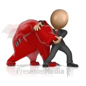 ID# 14759 - Business Figure Wrestling Bear - Presentation Clipart
