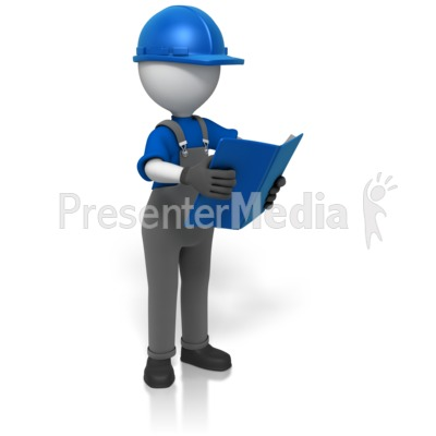Construction Worker Reading Manual  PowerPoint Clip Art