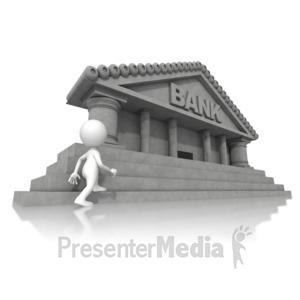 ID# 14822 - Walking Towards Bank - Presentation Clipart