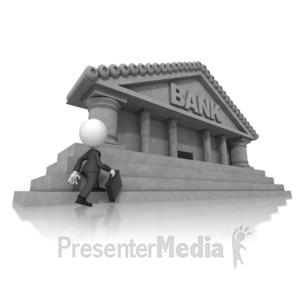ID# 14834 - Business Figure Walking Toward Bank - Presentation Clipart