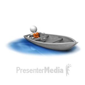 ID# 14858 - Figure Adrift In Small Boat - Presentation Clipart