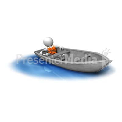 Figure Adrift In Small Boat PowerPoint Clip Art