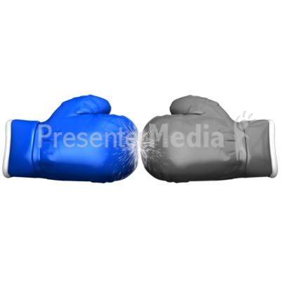 Boxing Glove Face Off Standout PowerPoint Clip Art