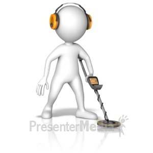 ID# 14902 - Figure Searching With Metal Detector - Presentation Clipart