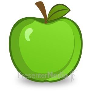 ID# 14909 - Green Apple Illustration - Presentation Clipart