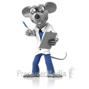 ID# 14929 - Lab Rat with Pen and Clipboard - Presentation Clipart