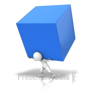 ID# 14932 - Carry The Cube - Presentation Clipart