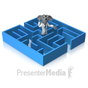 ID# 14950 - Lab Rat Stuck In Maze - Presentation Clipart