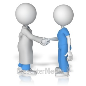 ID# 14980 - Doctor Shake Hands With Nurse - Presentation Clipart