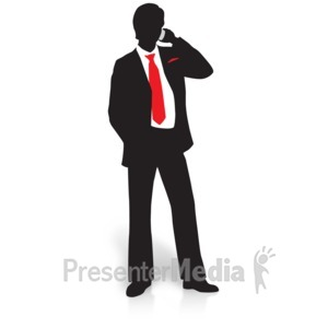 ID# 15001 - Businessman Silhouette Phone - Presentation Clipart
